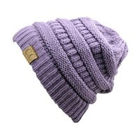 Trendy Warm Chunky Soft Stretch Cable Knit Slouchy Beanie Skully, Violet, One Size