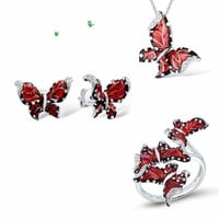 Red Butterfly White CZ Ring Earrings Pendant 925 Sterling Silver Fashion Jewelry Set
