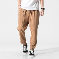 New 2017 mens summer pants Casual men linen pants Male black Harem Pants sweatpants Baggy jogger pants Trousers for man M-5XL
