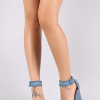 Frayed Denim Ankle Strap Platform Wedge