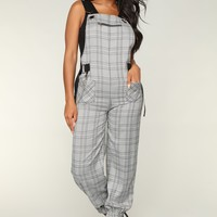 Clue Crew Overall Jumpsuit - White/Black