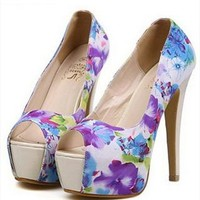 Flora Print High Heels with Peep Toe Design Blue BQAF436 from topsales