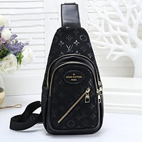 LV Louis Vuitton Tredning Men Leather Backpack Bookbag Daypack Satchel Black