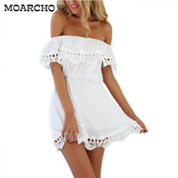 Women White Lace Stitching Dress Off Shoulder Strapless FREE SHIPPING