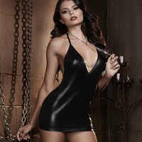 Faux Leather Halter Chain Chemise