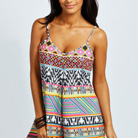 Ellen Bright Geo Print Strappy Swing Playsuit