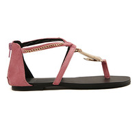 ROMWE Metal Anchor Shaped Embellishment Pink Flat Sandals