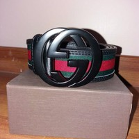 GUCCI Tide brand men's retro red and green stripes double G smooth buckle belt