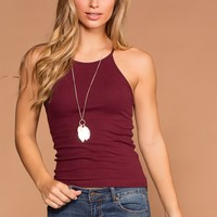 Bethany Burgundy Ribbed Knit Tank Top