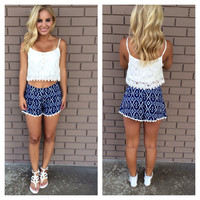Russian Navy Crochet Trim Shorts