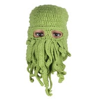 Fashion Unisex Warm Knitted Wool Ski Face Mask Hat Squid Cap Cthulhu Tentacles Beanie Hat