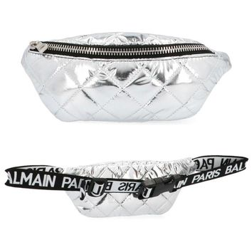 Unisex Silver Quilted Fanny Pack