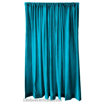 Wide Ready Made Sizes Home Living Room Bedroom Store Window Treatments Decor Drapery Turquoise Velvet 84 inch Curtain Long Panels