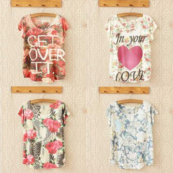 """""""Get Over It"""" Floral Printed T-Shirt"""