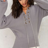 Mine or Yours Lace-Up Sweater