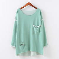 Round-neck Pullover Ripped Holes With Pocket Hoodies [9067786180]