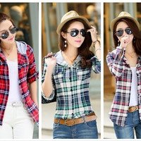 Fashion Women 2015 Casual Hoodie Long Sleeve Autumn Blouse Plaid Cardigan Plus Size Women Clothing = 1932605316