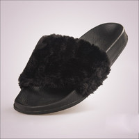 Fluffy Fur Women Slippers Fashion Slides Women Summer Shoes Casual Shoes Flats White Black Chaussure Femme