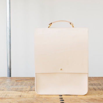 Emma - Boxy Natural Leather Backpack