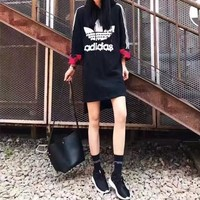 """""""Adidas"""" Fashion Casual Stripe Clover Letter Sequin Long Sleeve Hooded Mini Dress"""