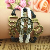 Clock Rings and Love 5 Layers Black and White Handmade Bracelet BDP0529