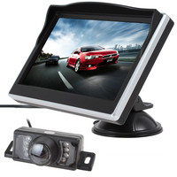 5 Inch TFT HD Digital LCD Screen 480 x 272 Color Car Rear View Monitor + 7 IR Lights Water-proof 170 Degree Car Rear View Camera