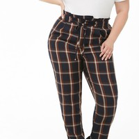 Plus Size Plaid High-Rise Ankle Pants