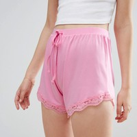 ASOS Lace Hem Shorts at asos.com