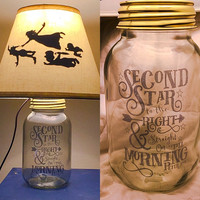 Peter Pan Inspired Silhouette Mason Jar Lamp