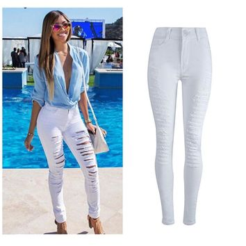 Women Lady Fashion Denim Skinny Ripped Pants High Waist Hole Stretch Jeans Slim Pencil Trousers White F80