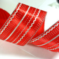 Red Christmas Ribbon: Solid Red Wire Edged Ribbon with Silver Glitter Stripes and Patterns with silver edge - 3 yards - 2 1/2 inch wide