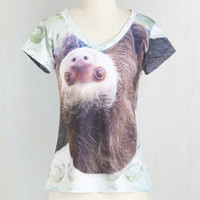 Quirky Mid-length Short Sleeves Thou Sloth Impress Too Much Tee