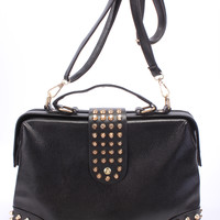 Black High Polished Gold Studded Accents Removable Strap Duffel Purse