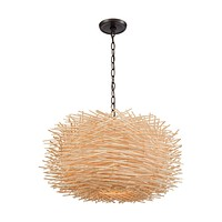 Bamboo Nest 3-Light Chandelier in Oil Rubbed Bronze with Bamboo Sticks