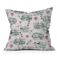 Belle13 Water Lily Lake Throw Pillow