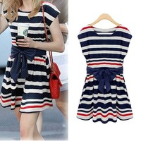 Casual Striped Sailor Dress with Bowknot