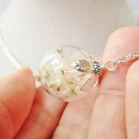 Dandelion Seed Glass Orb Terrarium Necklace in Silver or Bronze, Small Orb