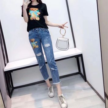 Women Casual Fashion Cartoon Bear Cub Print Short Sleeve T-shirt Jeans Trousers Set Two-Piece