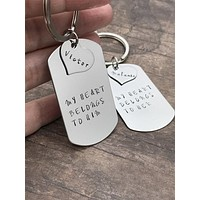 My Heart Belongs To Him Couples Dog tag heart Keychains