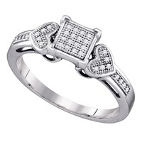 Sterling Silver Womens Round Diamond Square Cluster Heart Ring 1/10 Cttw