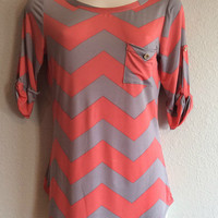 Chevron Top with Pocket - Coral and Gray