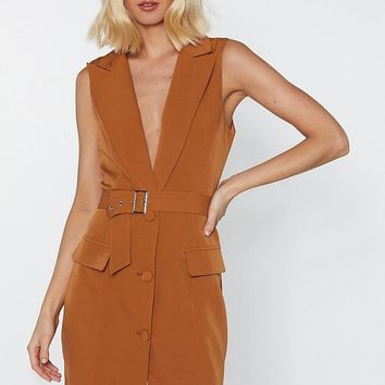 Get Down to It Plunging Blazer Dress