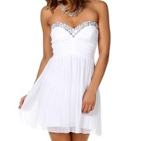 White Pleated Strapless Party Dress