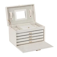 Large White Jewelry Boxes Rings Faux Leather Packaging Display Organizer