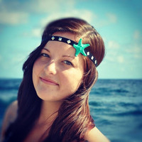 Teal Starfish Headband by byElizabethSwan on Etsy