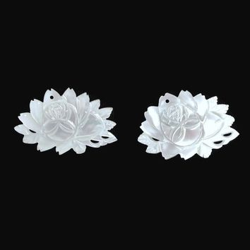 White Lotus Flower Clip On Earrings, Hand Carved Mother Of Pearl