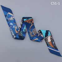 Fashion women silk handfeel scarf with beautiful print/ For many uses/ Women's beautiful bandanas headbands Hair ribbons