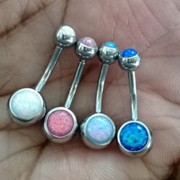 Sparkle Fire Opal 14 gauge stainless steel belly button navel rings, body jewelry, 14g