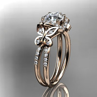 14kt  rose gold diamond butterfly wedding ring,engagement ring ADLR141