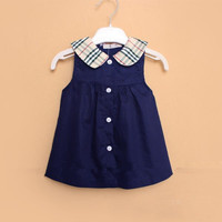 New girls's plaid dresses fashion designer clothing summer dress for kids, baby girls clothing red / blue, cotton princess dress A655